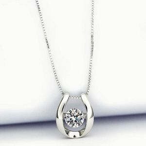 Sterling Silver Dancing Stone Pendant Necklace